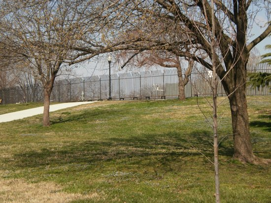 Riverside Park: Early Spring 2013, with the fence from the public swimming pool in the background