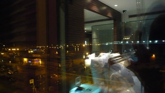 Romeo Hotel - View through room window - of the ferry port