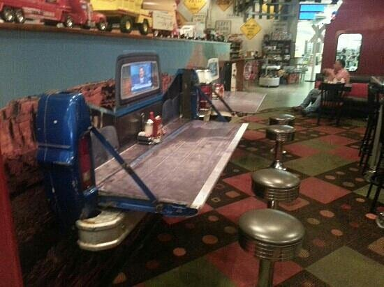 Derailed Diner : Wonderful decor, everything from saddles to airplane parts for seats and tables in the diner