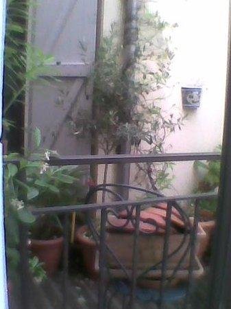 Hotel Lutetia: vue de la fenetre de la chambre sergio, micro terasse du voisin