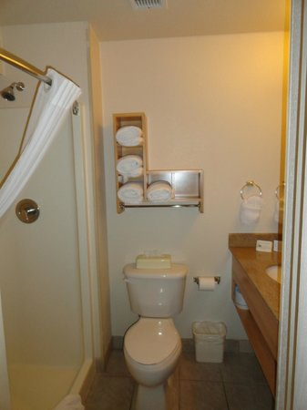 Comfort Suites Seven Mile Beach: The bathroom - with plenty of shelving (Thank you!)