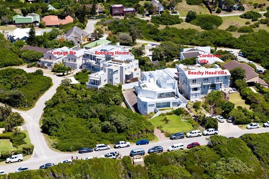 The Robberg Beach Lodge: Aerial View of Robberg Beach Lodge showing four villas