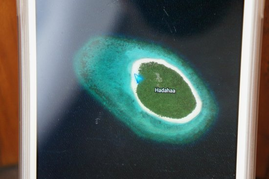 Park Hyatt Maldives Hadahaa: The beloved Hadahaa Island!  (Google maps showing where we were)