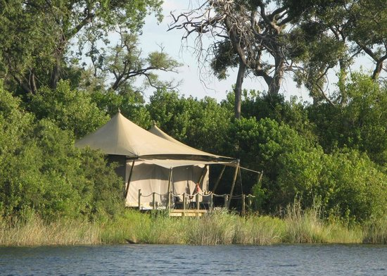 Wilderness Safaris DumaTau Camp: Tent 1 as seen from river