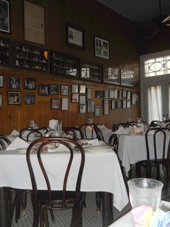 Tujague's Restaurant : Tujague's dining room, walls filled with celebrity pics