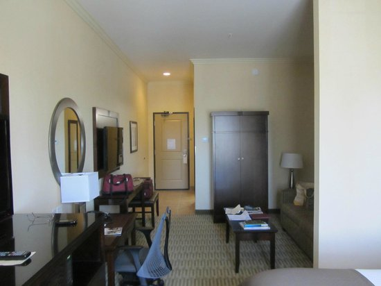 The Oaks Hotel: King Suite means extra length, a pull out couch and extra TV