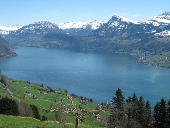 Ennetbuergen, Suíça: Aussicht auf den Vierwaldstätter See vom Zimmer mit Seesicht