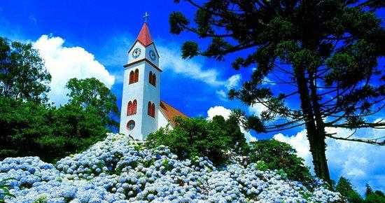 Pousada Jasmim: igreja e ortensia