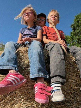 Rancho Cortez: kids having a great time on the hay stack