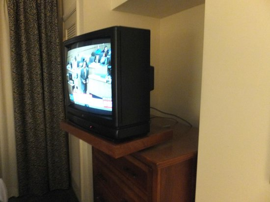 Sonesta ES Suites Charlotte : Both TV's were old and had horrible reception. Battery compartment cover missing one TV .