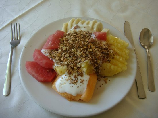 Terra-Cotta : Fruit plate with yogurt, granola and honey. Simple, but better than at an all-inclusive, by far.