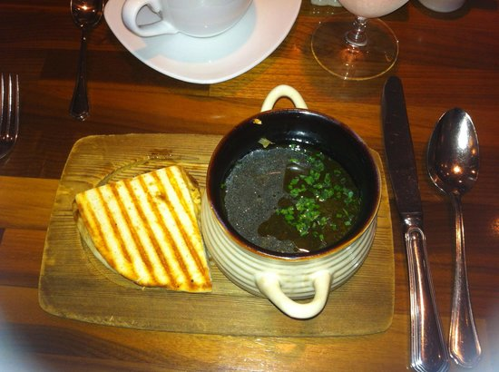 OAKLEY'S Bistro: French Onion Soup with the Crouton and Cheese on the Side