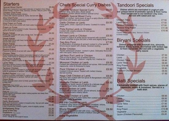 Poolside tandoori: menu