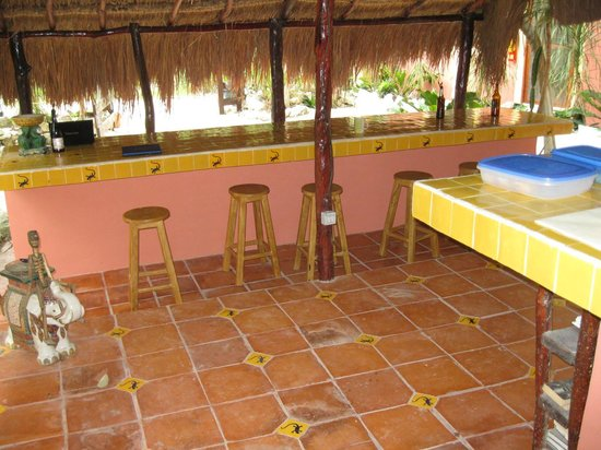 Dos Ojos Lodge: Common area under the thatched roof.