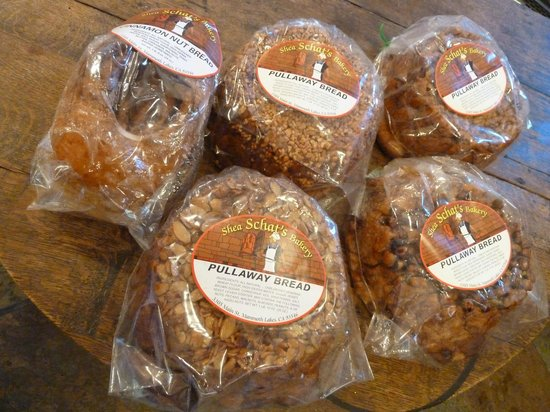 Shea Schat's Bakery : A variety of pullaway bread and a loaf of cinnamon nut bread.