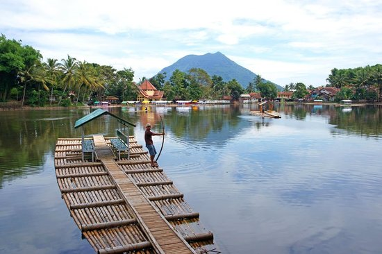 Cangkuang Temple: Bamboo Raft on the Temple Lake near Garut