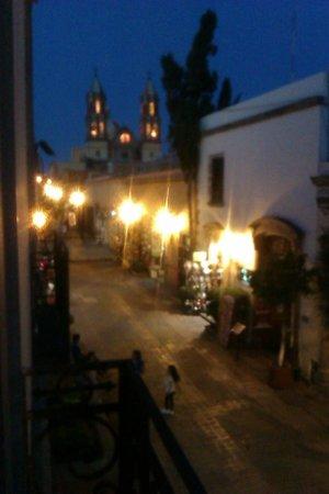 Meson del Obispado: Businesses in front of hotel