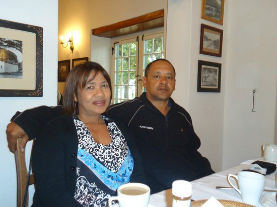 Jonkershuis Restaurant at Groot Constantia: Husband and I waiting for our breakfast