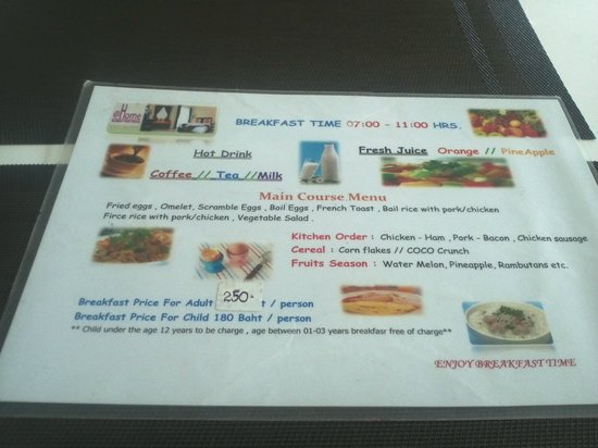 Athome Hotel 2: Breakfast Menu 250Bt