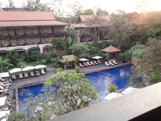 Victoria Angkor Resort & Spa: View from our balcony - pool and garden