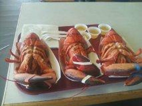 Brown's Seabrook Lobster Pound: 3 nice lunch lobsters