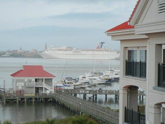 Charleston Harbor Resort & Marina: Cruise ship anchored in Charleston