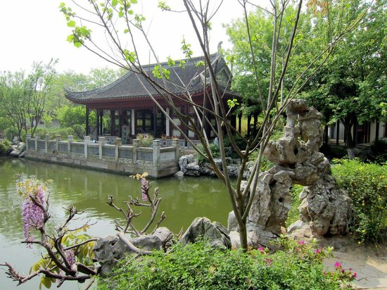 Tongli Pearl Tower: Pond, rocks, flowers, trees