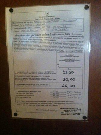 Bed and Breakfast San Rocco : Condizioni/Prezzi