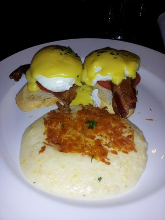 Toast: Eggs Benedict and cheese grits
