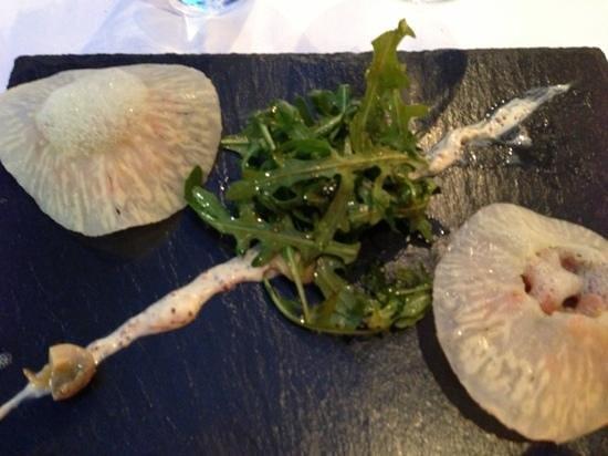 Hotel de France : raviole végétal de saumon