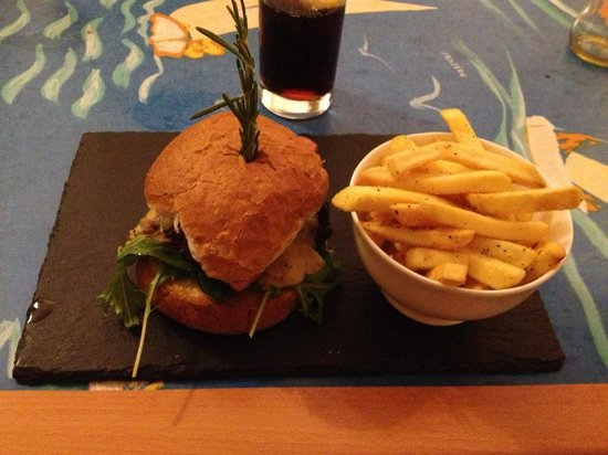 The Gower Kitchen  Bacon Cheese Burger. Pork belly with black pudding and bacon  with truffle mash and