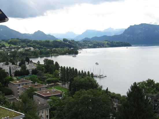 Art Deco Hotel Montana Luzern: View from room over towards the Alps.