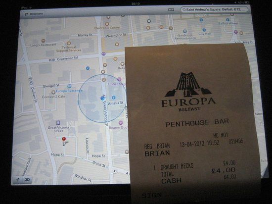 Europa Hotel - Belfast: Google Location