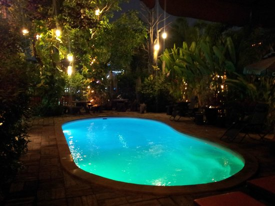 Log Home Boutique Hotel: Pool by night