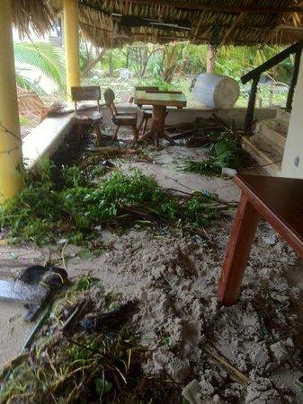 Hotel Maya Luna: front porch after hurricane