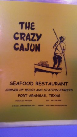 Crazy Cajun Seafood Restaurant: Menu Cover