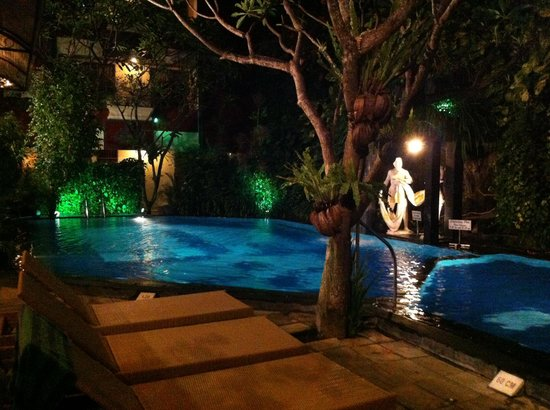 Green Garden Hotel: pool area at night