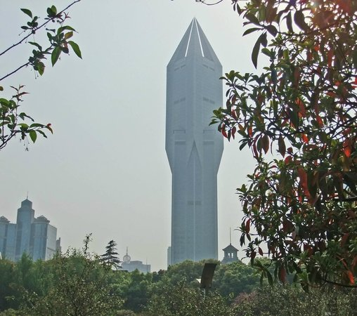 JW Marriott Hotel Shanghai at Tomorrow Square: The hotel as viewed from People's Park, go there in the morning and watch the exercises