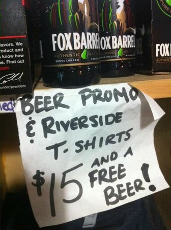 Riverside Market: Love their home-made signage!!  Yes, i got a free beer!!
