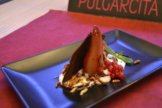 Pepita Pulgarcita: Pera al moscatel con crema de yogur