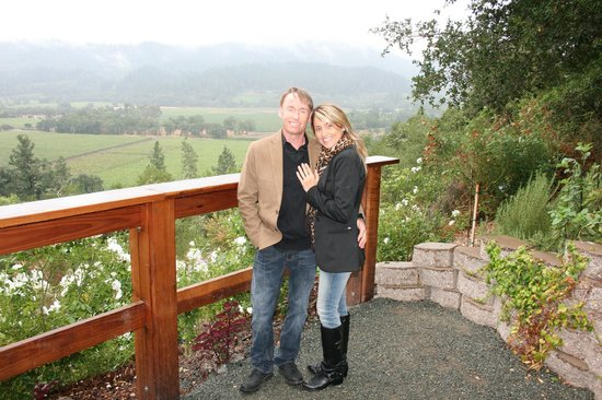 Rombauer Vineyards : Official engagement photo overlooking Napa Valley from Rombauer gardens
