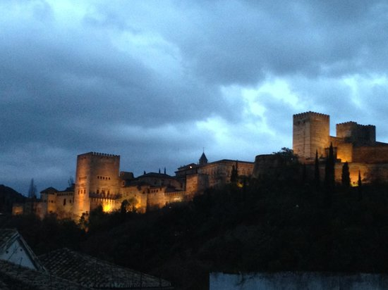 El Numero 8: Evening view of La Alhambra from the roof deck