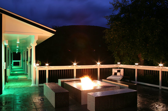 The Roxbury, Contemporary Catskill Lodging: The Roxbury South Firepit Deck