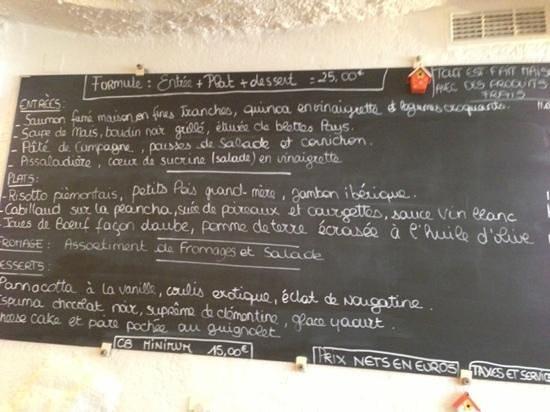 Au Vieux Four : Lunch menu