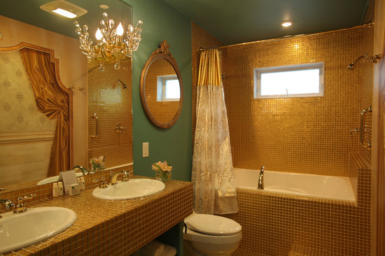 The Roxbury, Contemporary Catskill Lodging: The Golden Bathroom of The Amadeus' Bride Suite