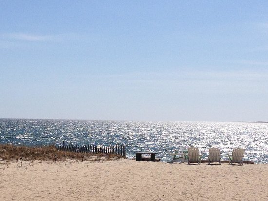 Sandbars on Cape Cod Bay: view of the private beach from our room