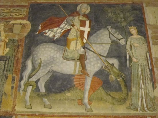 Basilica di San Zeno Maggiore: St George slaying the dragon.
