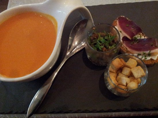Tomato soup with smoked duck breast - Picture of Le Vingt4, Nice ...