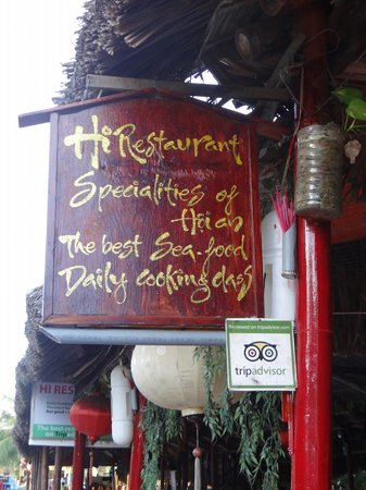Chez M,Chien: Enseigne du restaurant
