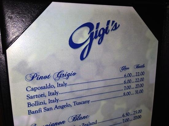 Gigi's Italian Restaurant : the Banfi was excellent if you like dry!